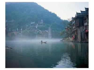 Thai Boating In Morning Mist--Art Print