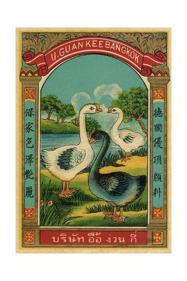 Thai Cotton Label with Geese--Giclee Print