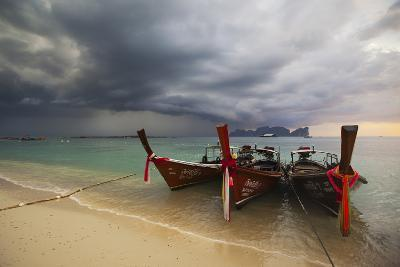 Thai Fishing Boats Beached on Phi Phi Island During a Storm-Alex Saberi-Photographic Print