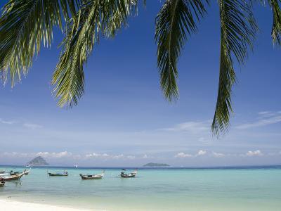 Thai Longboats Along the Coast of Phi Phi Don Island, Phuket, Andaman Sea, Thailand-Cindy Miller Hopkins-Photographic Print