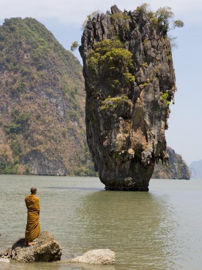 Thai Monk at Ko Phing Kan (James Bond Island)-Holger Leue-Photographic Print