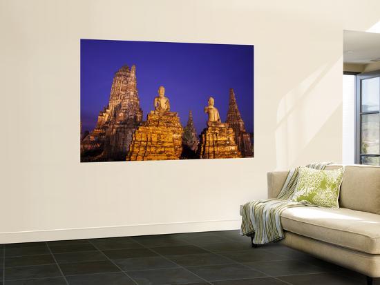Thailand, Ayutthaya, Ayutthaya Historical Park, Dusk at Wat Chai Wattanaram-Steve Vidler-Wall Mural