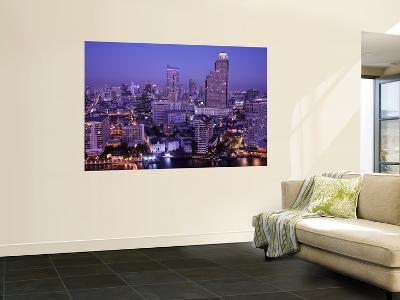 Thailand, Bangkok, City Skyline and Chao Phraya River at Night-Steve Vidler-Wall Mural