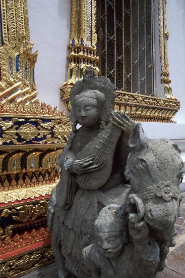 Thailand, Bangkok, Wat Pho Temple, Detail of Statue--Giclee Print