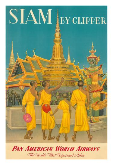 Thailand by Clipper - Pan American World Airways - Monks at Wat Phra Kaeo, Temple of Emerald Buddha-Charles Baskerville-Giclee Print