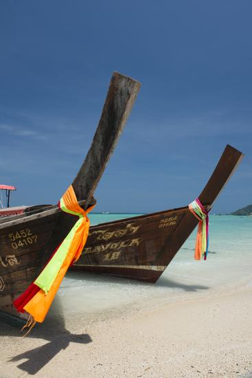 Thailand, Phuket, Island of Phi Phi Don. Traditional Longboat-Cindy Miller Hopkins-Photographic Print