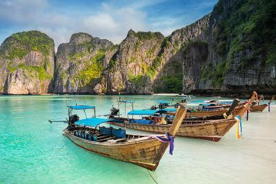 Thailand Sea Beach View Round with Steep Limestone Hills and Traditional Longtail Boats-Pakorn Lopattanakij-Photographic Print