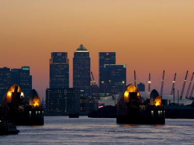 Thames Barrier, O2 Arena, Canary Wharf, London, England, United Kingdom, Europe-Charles Bowman-Photographic Print