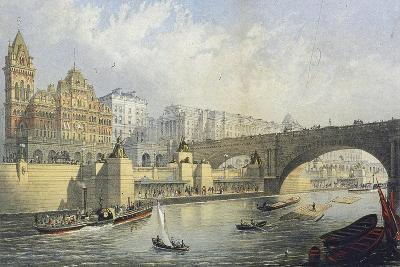 Thames Embankment - Steam Boat Landing Pier at Waterloo, London, 1864-RM Bryson-Giclee Print