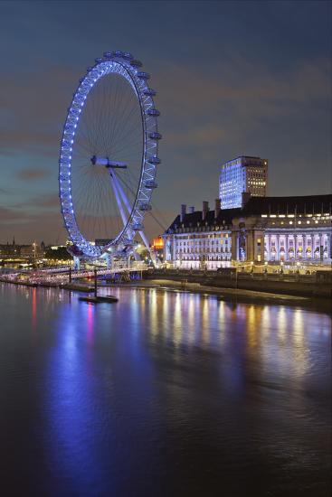 Thames Shore, London Eye, County Hall, Aquarium, in the Evening, London, England, Great Britain-Rainer Mirau-Photographic Print