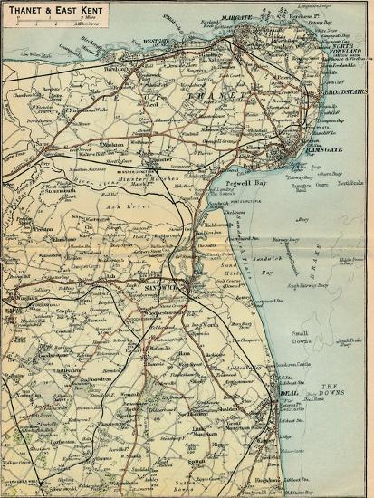 'Thanet & East Kent', c20th Century-John Bartholomew-Giclee Print