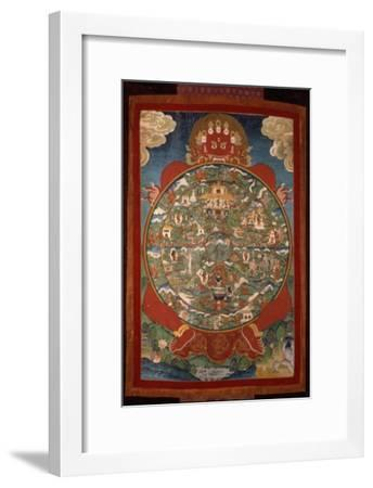 Thangka, Depicting Wheel of Life Turned by Red Yama, Lord of Death, 19th-20th Century--Framed Giclee Print