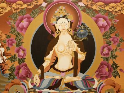 Thangka Depicting White Tara Goddess, Buddhist Symbol of Long Life, Bhaktapur, Nepal, Asia-Godong-Photographic Print