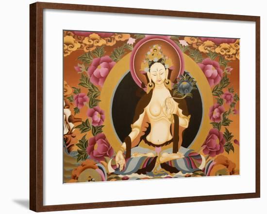 Thangka Depicting White Tara Goddess, Buddhist Symbol of Long Life, Bhaktapur, Nepal, Asia-Godong-Framed Photographic Print