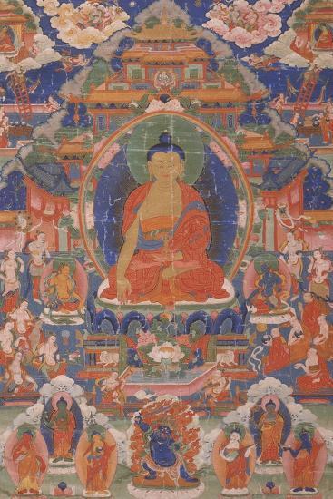 Thangka of Maitreya from Gyangze, Tibet, C.1800--Giclee Print