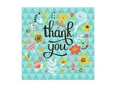 Thank You! Bright Cartoon Card Made of Flowers and Butterflies. Floral Background in Summer Colors-smilewithjul-Art Print