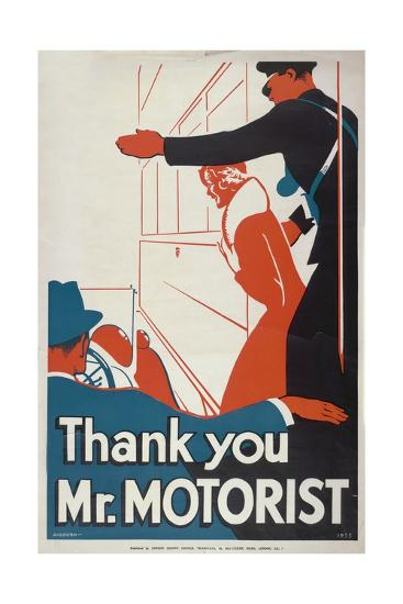 Thank You Mr Motorist, London County Council (LC) Tramways Poster, 1933-JS Anderson-Giclee Print