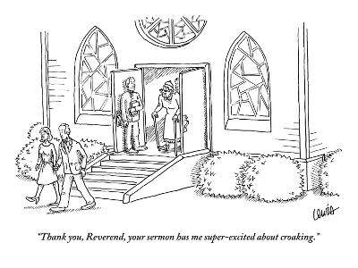"""""""Thank you, Reverend, your sermon has me super-excited about croaking."""" - New Yorker Cartoon-Eric Lewis-Premium Giclee Print"""
