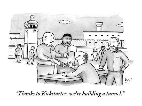 """Thanks to Kickstarter, we're building a tunnel.""  - New Yorker Cartoon-Bob Eckstein-Premium Giclee Print"