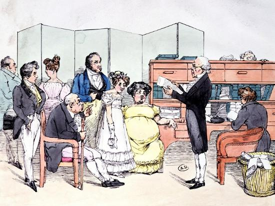 Thanks to the Dowry, Reading a Marriage Contract at the Lawyer Office, circa 1830-Frederic Bouchot-Giclee Print
