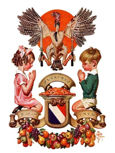 """""""Thanksgiving Crest,""""November 26, 1932-Joseph Christian Leyendecker-Giclee Print"""