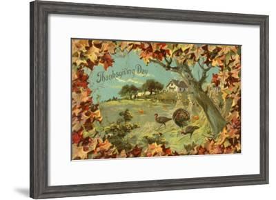Thanksgiving Day - Fallen Leaves and Turkeys-Lantern Press-Framed Art Print