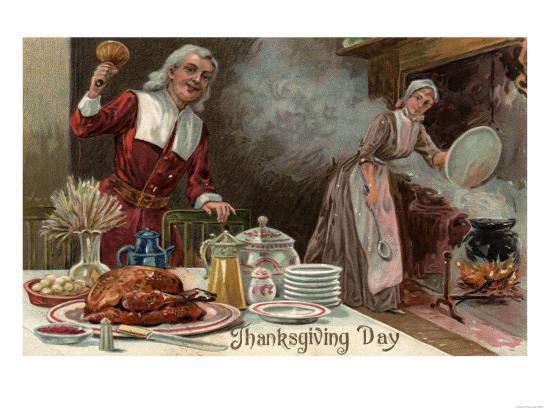 Thanksgiving Day - Pilgrim Dinner Scene-Lantern Press-Art Print