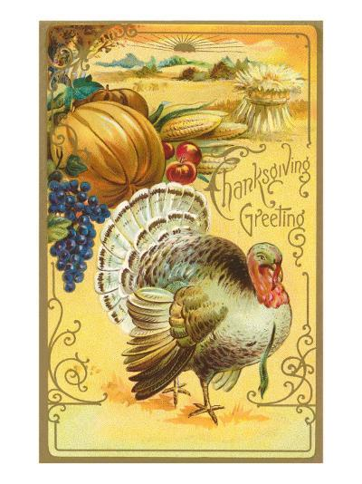 Thanksgiving Greeting, Turkey and Pumpkin--Art Print