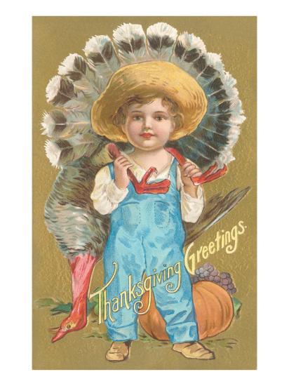 Thanksgiving Greetings, Farmer Boy with Turkey--Art Print