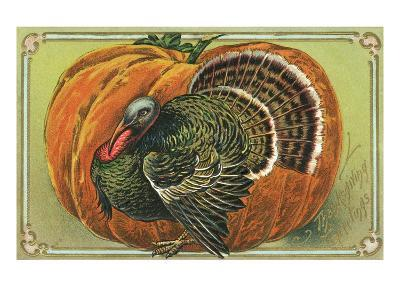 Thanksgiving Greetings with a Turkey and Pumpkin--Giclee Print