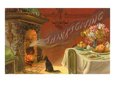 Thanksgiving Smoke Coming out of Fireplace--Art Print