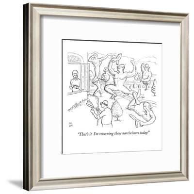 """""""That's it. I'm returning those narciscissors today!"""" - New Yorker Cartoon-Paul Noth-Framed Premium Giclee Print"""