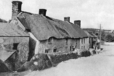 Thatched Cottages Near Camborne, Cornwall, 1924-1926-HJ Smith-Giclee Print