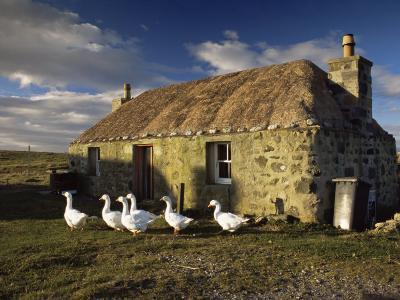 Thatched House, Howmore, South Uist, Outer Hebrides, Scotland, United Kingdom, Europe-Patrick Dieudonne-Photographic Print