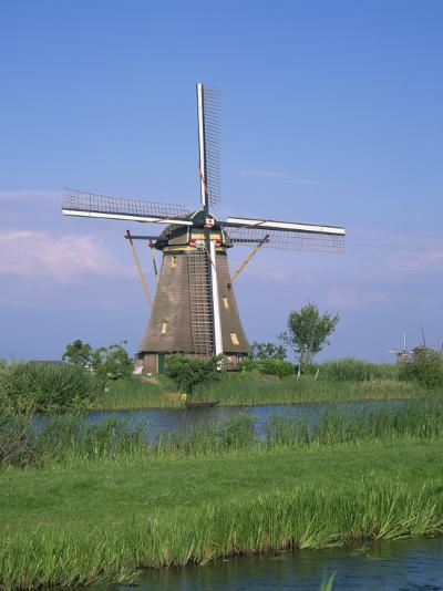 Thatched Windmills on the Canal at Kinderdijk, UNESCO World Heritage Site, Holland, Europe-Rainford Roy-Photographic Print