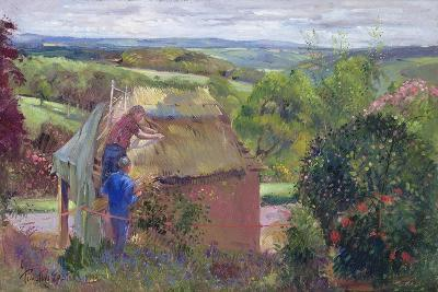 Thatching the Summer House, Lanhydrock House, Cornwall, 1993-Timothy Easton-Giclee Print