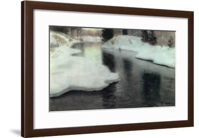 Thawing Ice on the Lysaker River, 1887- Thaulow-Framed Giclee Print