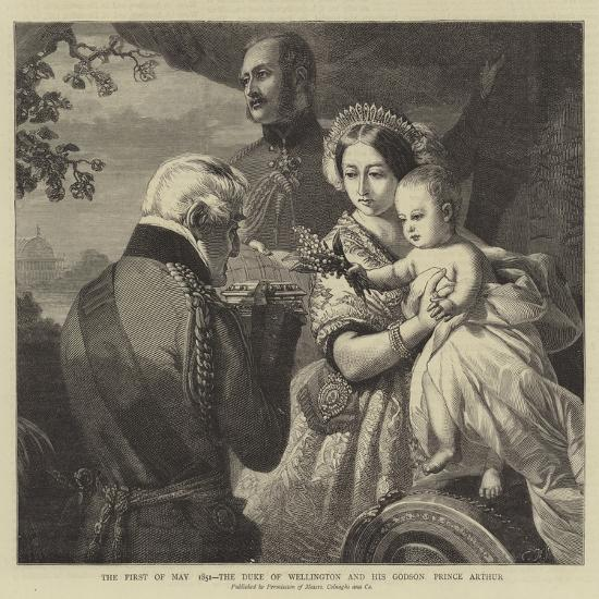 The 1 May 1851, the Duke of Wellington and His Godson Prince Arthur--Giclee Print