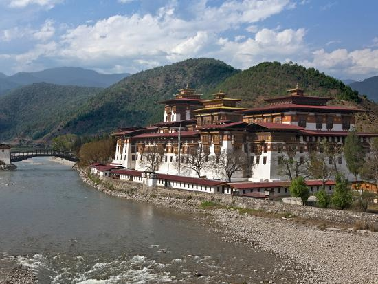 The 17th Century Punakha Dzong (The Palace of Great Happiness), Second Oldest and Second Largest Dz-Nigel Pavitt-Photographic Print