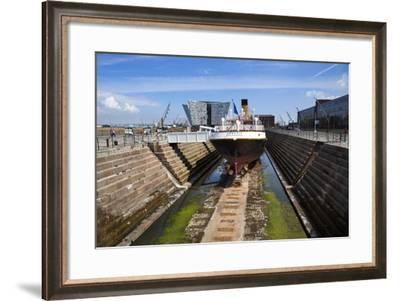 The 1911 Nomadic, a White Star Line Ship, in Dry Dock at Titanic Belfast-Chris Hill-Framed Photographic Print