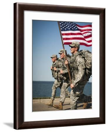 The 191st Military Police Company Wearing Full Combat Gear And Carrying the American Flag-Stocktrek Images-Framed Photographic Print