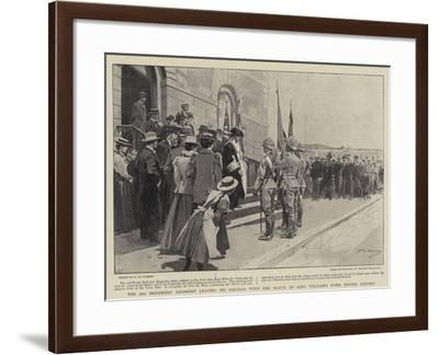 The 2nd Berkshire Regiment Leaving its Colours with the Mayor of King William's Town before Leaving-Frederic De Haenen-Framed Giclee Print