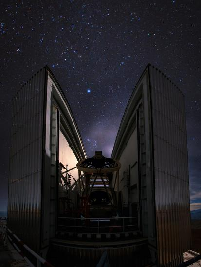 The 3.58-Metre New Technology Telescope, Ntt, Appears at Night in Action-Babak Tafreshi-Photographic Print