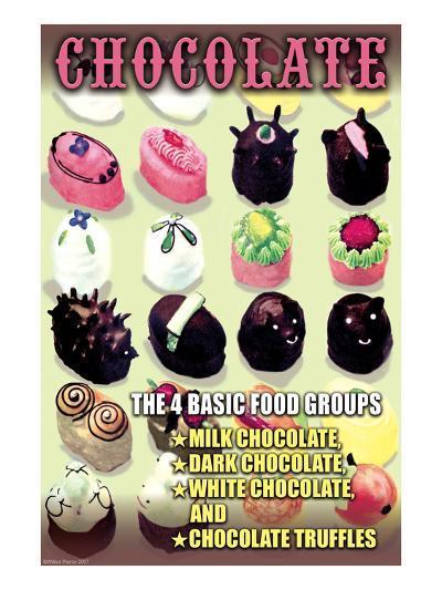 The 4 Basic Food Groups: Chocolate-Wilbur Pierce-Art Print