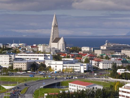 The 75M Tall Steeple and Vast Modernist Church of Hallgrimskirkja, Reykjavik, Iceland-Gavin Hellier-Photographic Print