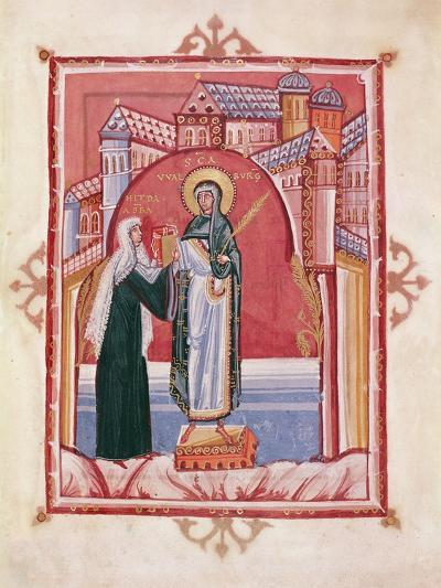 The Abbess Hilda Offering the Gospel to St. Walburga-German School-Giclee Print