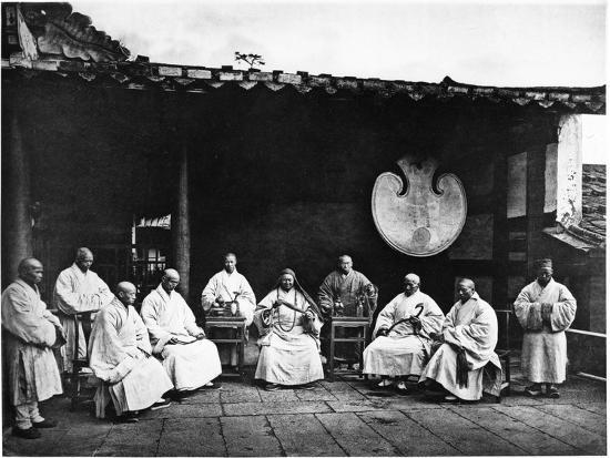 The Abbot and Monks of Kushan Monastery, C.1867-72-John Thomson-Photographic Print