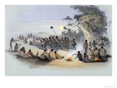 The Aboriginal Inhabitants: The Kuri Dance, from South Australia Illustrated, Published in 1847-George French Angas-Giclee Print