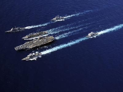 The Abraham Lincoln Carrier Strike Group Ships Cruise in Formation in the Pacific Ocean-Stocktrek Images-Photographic Print