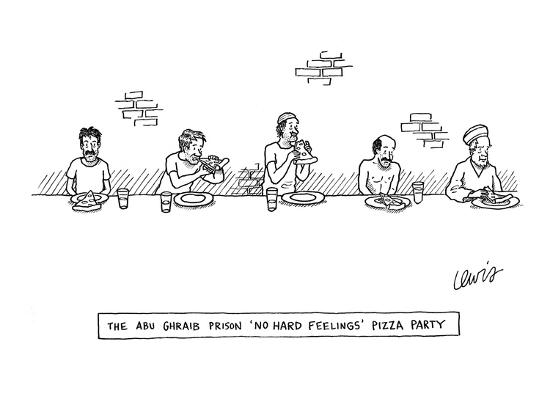 """The Abu-Ghraib Prison 'No Hard Feelings' Pizza Party"" - New Yorker Cartoon-Eric Lewis-Premium Giclee Print"